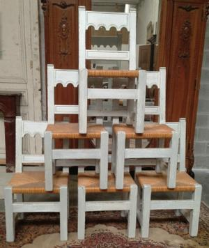 Set of 6 rustic chairs
