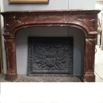 fireplace regence marble red solid 20th century