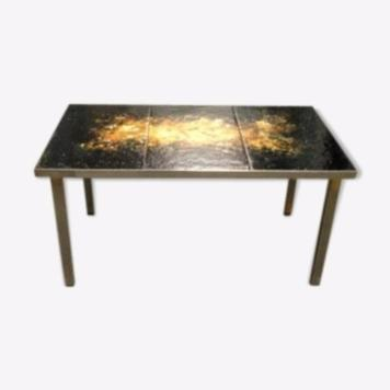 small table iron and bronze marble top